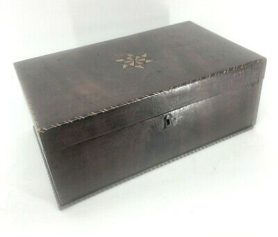 """Antique Wooden Box with Inlaid Star Removable Interior Compartments 14"""" Tea Sewi"""