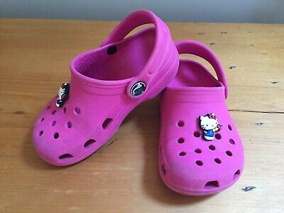 Genuine Pink Crocs Hello Kitty Removable Badge Size 8-9 kids Good Condition