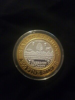 FOXWOODS RESORT CASINO Coin 1994 .999 Pure Silver State Of Vermont Original