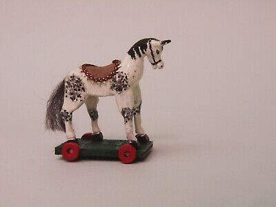 Dolls House 1/12 Hand Painted Wooden Pull-Along Horse (Fixed Wheels)