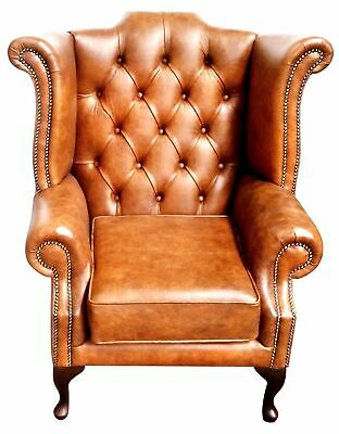 Chesterfield High back Queen Anne wing back Armchair in Oxblood Faux Leather