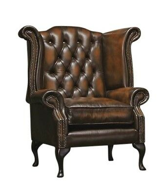 Chesterfield High back Queen Anne wing back Armchair in Antique Brown Leather