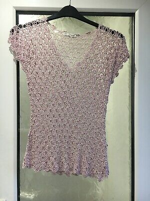 M&S Marks & Spencer Autograph Size 10/12/14 ? Lilac Crochet Sparkle Bead Top
