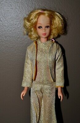 Vintage Barbie - Blonde Short Flip TNT Francie in Gold Jumpsuit/Jacket