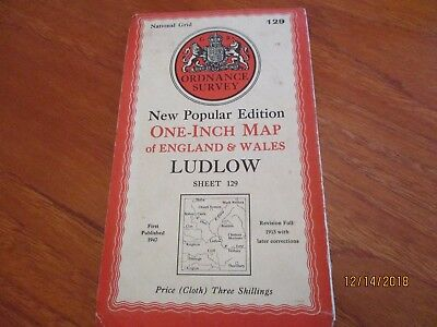 Ordnance Survey Cloth Map Number 129 Ludlow Published 1947