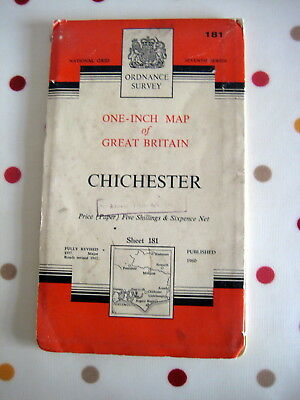 ORDNANCE SURVEY ONE-INCH MAP OF GREAT BRITAIN - CHICHESTER 1960/ 63 (Sheet 181)