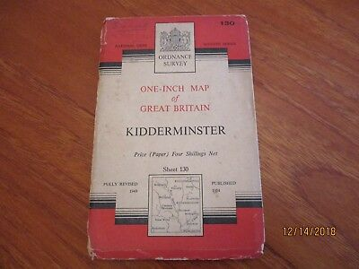 Ordnance Survey  Map Number 130 Kidderminster Published 1949
