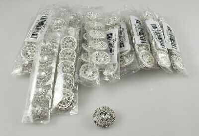 95 pcs of Clear Glass Round Metal  Rhinestones Crystal Hole Buttons DIY Craft