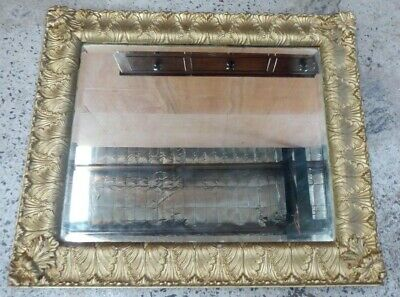 Antique Ornate Decorative Art Nouveau Gilt Gesso Picture Frame Bevelled Mirror