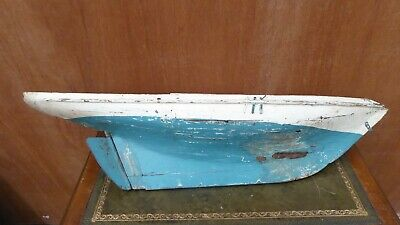 Large Vintage Rustic Wooden Model Boat Hull Pond Yacht  - Antique