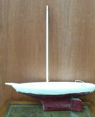 Vintage Wooden Model Boat Hull Pond Yacht