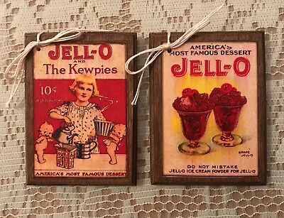 **NEW** 5 Handcrafted Wooden Retro JELLO Ornaments/VINTAGE Jello Hang Tags SETh
