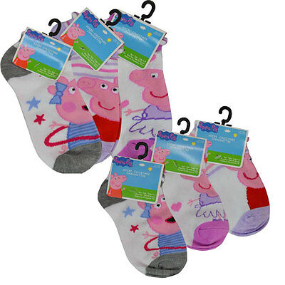 3 PAIR Peppa Pig ankle Socks Girls Kids Size 4-6 / 6-8 Shoes 7-10 / 10.5-4 NEW