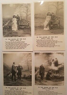 In The Shade Of The Old Apple Tree  Photo Postcards 4 Card Set (1-4) Circa 1910