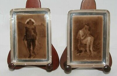 Antique Pair Silver Surround Sherwin & Cotton Tile Pin Dishes - Asprey 1911