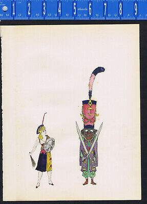 Turk or Ottoman Couple - Woman with Shield- c1920 Watercolor Print