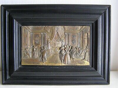 Antique 19th century French high relief gilt copper plaque - framed
