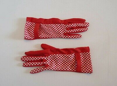 Red and White Checked Nylon Vintage Gloves by Dents - 6 1/2