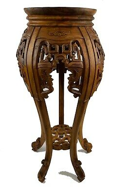 Ornate Carved Solid Wood Chinese Vintage Table Pedestal Tabouret Jardiniere