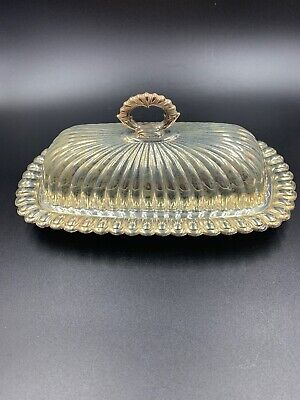 Vintage Silver Plate Roll Top Butter Dish UNMARKED
