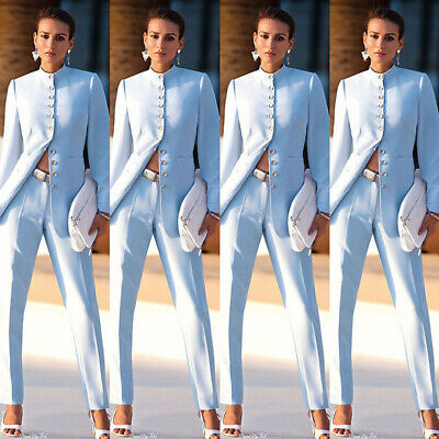 Sky Blue Womens Business Suits Chinese Collar Formal Prom Pant Suits For Wedding