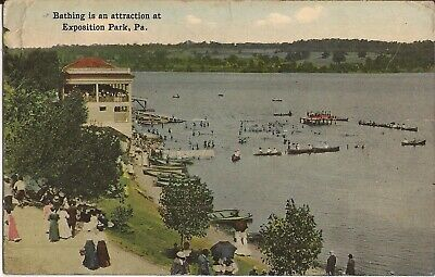 Exposition Park, PENNSYLVANIA - Bathing - 1920 - long dresses & hats, canoes