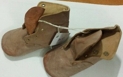 Antique Leather Baby Shoes/Boots ~ Pink/Mauve/Light Tan ~ Doll/Bear Shoes