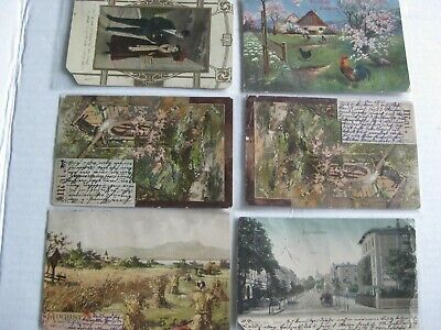 Antique German Post Cards Lot Used Stamped Writing 1902-1906 To Los Angeles
