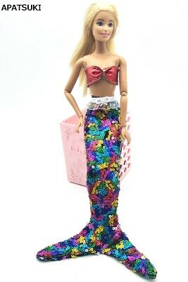Colorful Sequin Mermaid Tail Doll Dress For 11.5inch Doll Clothes Party Gown Red