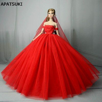 "Red Wedding Dress for 11.5"" Doll Clothes 1/6 Evening Dresses Party Gown Outfits"