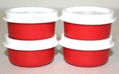 TUPPERWARE Lot of 4 Red/White Lid Smidgets~NEW~1463~Mini Storage Containers