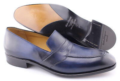 ade596999be36 Men's SALVATORE FERRAGAMO 'Tramezza' Navy Blue Leather Loafers Size US 12 -  B