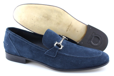 6c7cc5023b683 MEN'S SALVATORE FERRAGAMO 'Tapas' Blue Suede Loafers Size US 12 - D ...