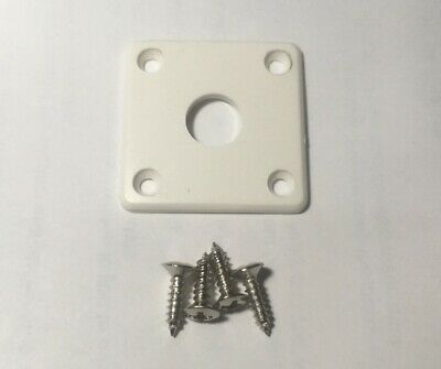 WHITE Square Output Jack Plate Plastic Flat For Epiphone Les Paul Guitar