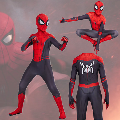 Kids Spider-Man 2 Far From Home Costume Jumpsuit Mask Halloween Cosplay BlackRed