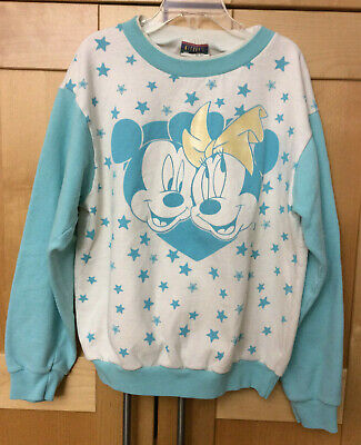 Vintage 80s Girl's Light Blue Disney Mickey & Minnie Mouse Sweatshirt L