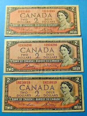 3x 1954 Bank of Canada 2 Dollar Notes