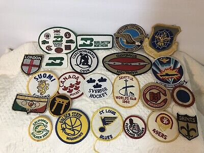 Lot of 23 Vintage cloth PATCHES Hockey, Train, Sports Teams, Olympics