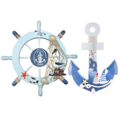 2 Pk Wooden Ship Wheel Wood Anchor Rope Nautical Boat Steering Rudder Wall Decor