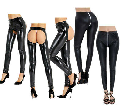 Women's Sexy Leather Long Pants Hollow Out Wet Look Trousers High Waist Bottoms
