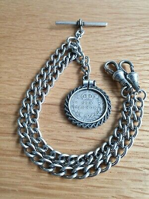 1904 Edwardian Sixpence Coin Fob Antique Silver Style Double Pocket Watch Chain