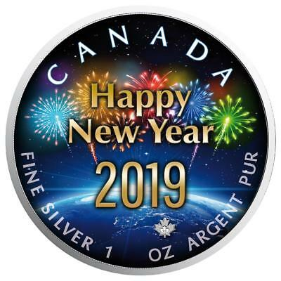 2019 1oz  Canadian  Maple Leaf New Year around the Globe Colorised Silver Coin