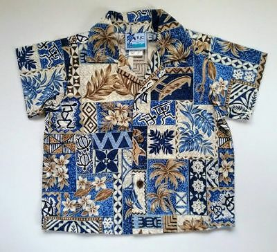 RJC Toddler Boys Button Front Shirt Blue Brown Hawaiian Print Size 2/2T New