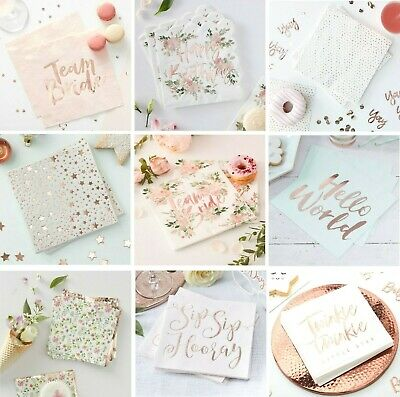 ROSE GOLD Party NAPKINS Tableware Wedding Hen Party Baby Christening Birthday