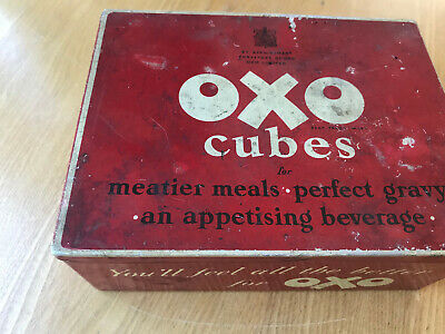 Vintage Red Oxo Cube Tin With Lid Good Condition - Clean - Nail Screw Box