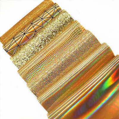 7 Sheets Set Mixed Gold Chunky Fine Craft Glitter Faux Leather Fabric Hair Bows