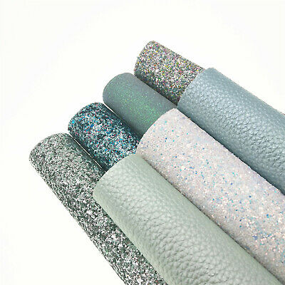 7PCS Aqua Blue Set Mixed Glitter Fabric Faux Leather Sheets Sparkly Craft Bows