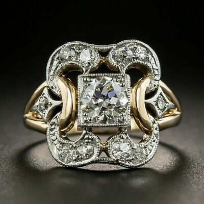 Vintage Art Deco Gold Filled Ring White Sapphire Proposal Wedding Party Size6-10