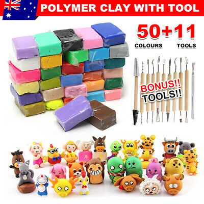 50PCS DIY Craft Malleable Fimo Polymer Modelling Soft Clay Block Set for Kids AU