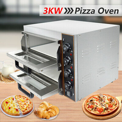 """New Commercial Baking Oven Fire Stone Electric Pizza Oven 2 x 16""""Twin Deck"""